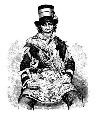 Oshawahnah he was a Tecumsehs deputy commander who led the Indians against American forces at the Battle of the Thames vintage line drawing or engraving illustration