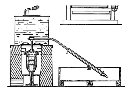 This furnace is used to purify a gold concentrate vintage line drawing or engraving illustration.