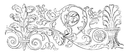 Friezes at Venice plasterwork carved wood decorative medium vintage line drawing or engraving illustration