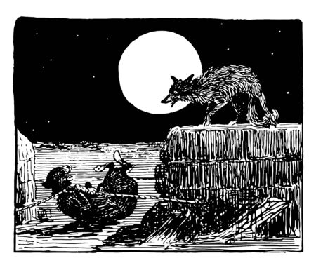 Reynard the Fox: Tricking Tibert this scene shows the cat is caught in trap and the fox telling something to cat in the night moon in background vintage line drawing or engraving illustration