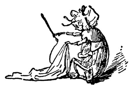 The Death and Burial of Robin, this scene shows an animal in human dress and sewing, vintage line drawing or engraving illustration Stock Illustratie