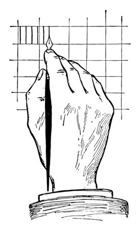 Top View of Position for Lettering Using Pen is to make directly in ink a series of vertical lines, illustrations of pens and ink stands, drawn by using a triangle in combination, vintage line drawing or engraving illustration.