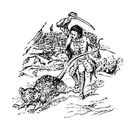 Gulliver with Large Rat this scene shows a little man raises his sword against Giant rat to defend himself vintage line drawing or engraving illustration