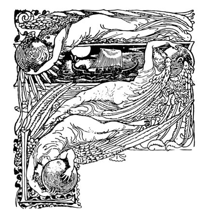 The Sirens Three is an illustration about the fairy tale vintage line drawing or engraving illustration. Illustration