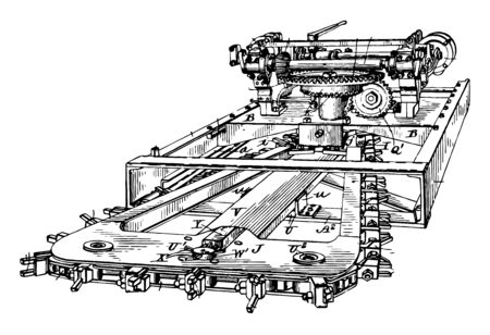 This illustration represents Machine which is used in Mining vintage line drawing or engraving illustration.