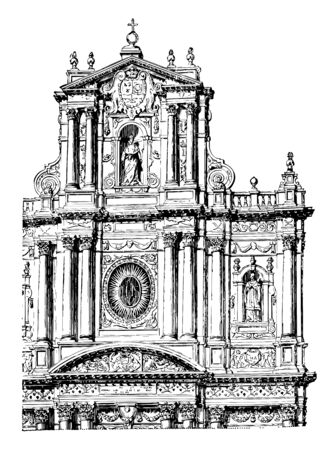 Façade of the Church of St. Paul and St. Louis at Paris Church is located in Paris Rue Saint Antoine in the Marais an example of Jesuit architecture vintage line drawing or engraving illustration.  イラスト・ベクター素材