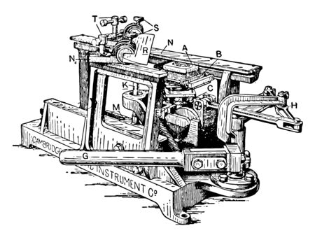 This illustration represents Large Sliding Microtome for Slicing Microscope Samples vintage line drawing or engraving illustration.