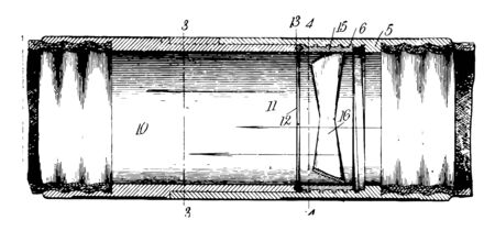 This illustration represents function of Hose Coupling vintage line drawing or engraving illustration.