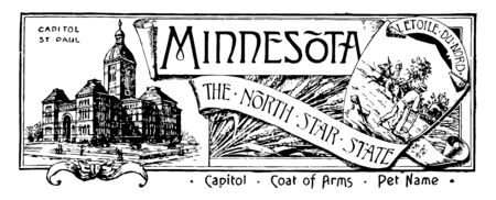 The state banner of Minnesota the north star state this banner has state house on left side on left side shows shield within that farmer plowing and one man riding horse vintage line drawing or engraving illustration