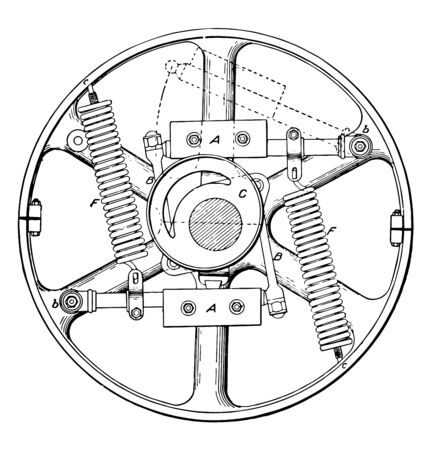 This illustration represents Buckeye Engine Governor which supports the various parts of the governor is keyed to the shaft vintage line drawing or engraving illustration.