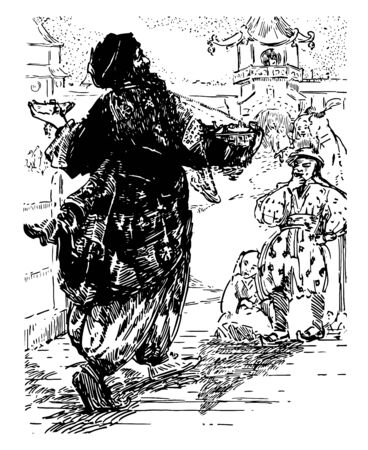The Story of Aladdin this scene shows a man holding basket in one hand and selling something a man looking at seller and thinking something vintage line drawing or engraving illustration