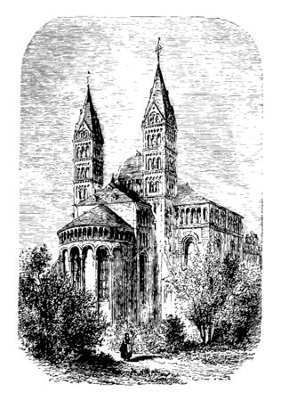 The Cathedral at Spires was built between 916 and 1097 Old English word spir meaning a sprout shoot or stalk of grass vintage line drawing or engraving illustration.