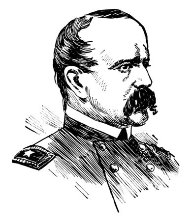 Daniel Butterfield 1831 to 1901 he was a businessman union general in the American civil war and assistant U.S. treasurer vintage line drawing or engraving illustration 일러스트
