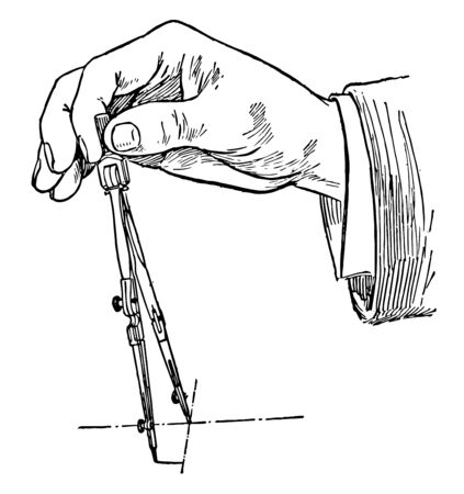 Drawing a Circle Using Compass is turned by the handle with the thumb tighten the hold for the pencil and pencil lead with the compasss needle vintage line drawing or engraving illustration.