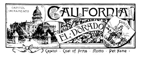 The state banner of California this banner has state house surrounded by trees right side roman goddess a sheaf of grain a miner sailing ships on top CAPITOL SACRAMENTO and CALIFORNIA written vintage line drawing or engraving illustration