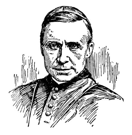 Cardinal James Gibbons 1834 to 1921 he was an American cardinal of the Roman catholic church apostolic vicar of North Carolina bishop of Richmond Virginia and Archbishop of Baltimore Maryland vintage line drawing or engraving illustration