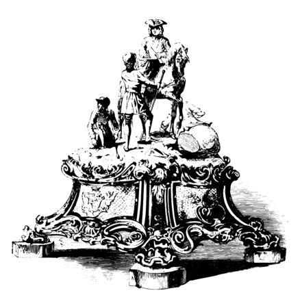 Marlborough Testimonial is a sculpture depicting John Duke of Marlborough vintage line drawing or engraving illustration. Banque d'images - 133084262