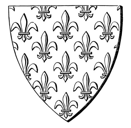 Shield Semée so covered is said to be seméee with the charge in question vintage line drawing or engraving illustration.
