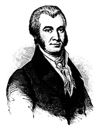James Asheton Bayard 1767 to 1815 he was an American lawyer politician and a member of the federalist party he served as U.S. Representative and U.S. Senator from Delaware vintage line drawing or engraving illustration