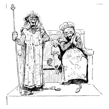 Reynard the Fox: The Kings Pardon this scene shows two lions and the fox the lion in king standing near couch fox sitting near the lion in queen dress on bench vintage line drawing or engraving illustration Ilustração
