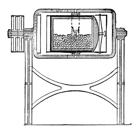 This diagram represents Jar Mill, vintage line drawing or engraving illustration.
