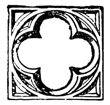 Quatrefoil is divided by cusps and four lobes or leaves as used in architectural tracery opening of the cosmic central axis vintage line drawing or engraving illustration.