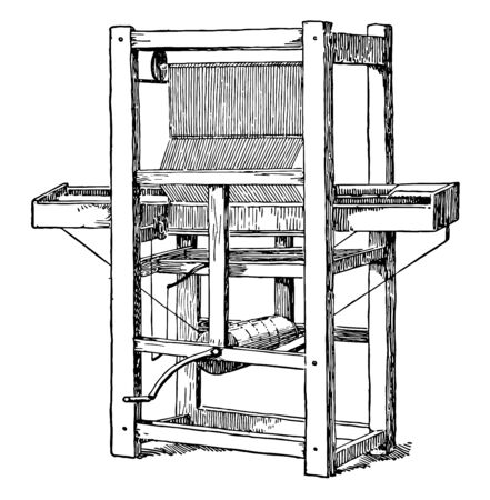 This illustration represents Cartwright First Power Loom which eased the process of constructing fabric vintage line drawing or engraving illustration.