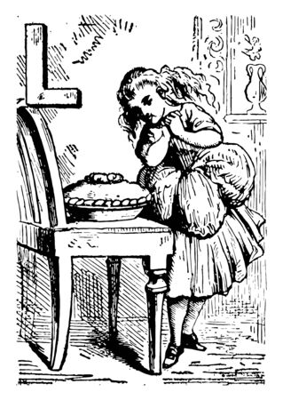 Alphabet L longed for it this picture shows a girl looking at food bowl kept on table and it looks like she wanted food for long time vintage line drawing or engraving illustration