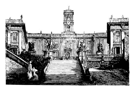 Modern Capital at Rome it have such considerable and prominent position it is necessarily entailed imitation it have no rival in the world vintage line drawing or engraving illustration.