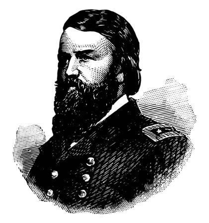 John Pope 1822 to 1892 he was a career United States army officer and union general in the American civil war vintage line drawing or engraving illustration