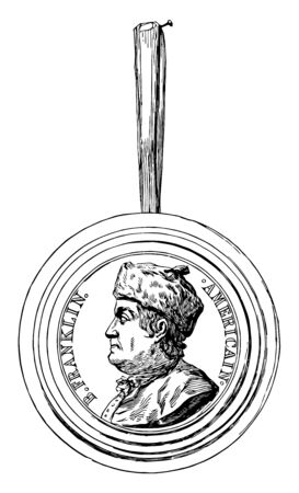 The Franklin Medallion Franklin was a celebrity in Paris even before his arrival in 1777 and medallions from the faience pottery at Chaumont vintage line drawing or engraving illustration