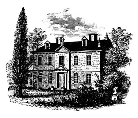 Image depicts the house of Benjamin Chew. The building has a wonderful front yard where the statue of lady is present. The garden is full of green big trees vintage line drawing or engraving illustration.