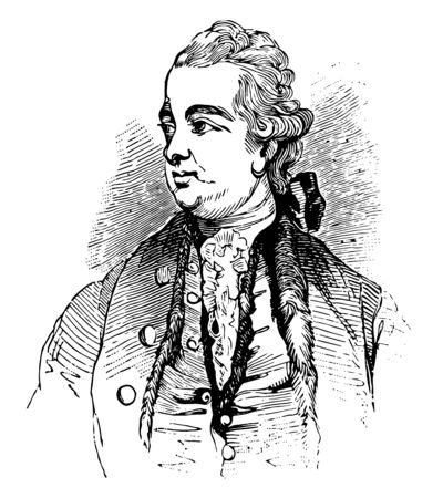 Edward Gibbon 1737 to 1794 he was an English historian writer and member of parliament famous for his work The History of the Decline and Fall of the Roman Empire vintage line drawing or engraving illustration