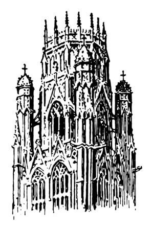 Lantern Tower at St. Ouen; Rouen, France, In Gothic architecture, frequently placed over the center of cross churches, the light admitted by windows in the sides, vintage line drawing or engraving illustration.