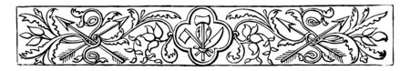 Banner have contains an image of archery arrows or floral arrangements its have a symbol in the middle in image vintage line drawing or engraving illustration. 일러스트