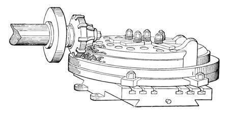 This illustration represents function of Ring Milling, vintage line drawing or engraving illustration.