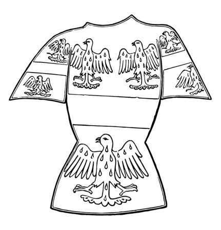 Tabard is a short coat with short sleeves or shoulder pieces vintage line drawing or engraving illustration. Ilustracja