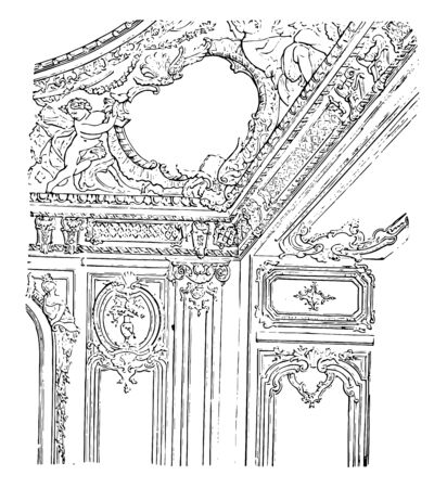 Saloon in the Palace of Versailles decorated ceiling mansion architecture room Versailles wall decoration vintage line drawing or engraving illustration.