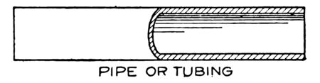Conventional Breaks Symbols of Pipe or Tubing by Cutting Diameter in the half ambitious goal of redesigning the suspension bridge associative hatch updates automatically vintage line drawing or engraving illustration.