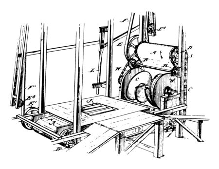 This illustration represents Mixing Machine which is suited for mixing and kneading the raw ingredients for soils and fertilizers vintage line drawing or engraving illustration.