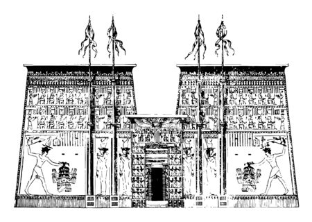 Pylon of the Temple of Edfu architecture Egypt facade stone vintage line drawing or engraving illustration. Çizim