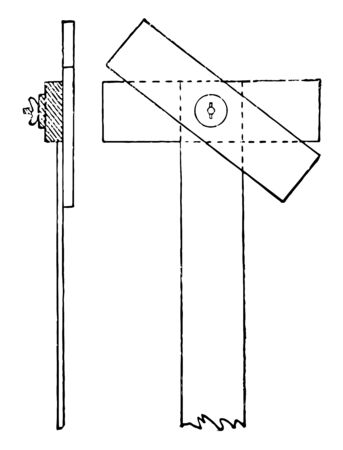 Adjustable Rectangular Head T Square is mortised into the fixed one and the nut and thumb screw, it is the top surface and an elongated cross member having angular measurement, vintage line drawing or engraving illustration.