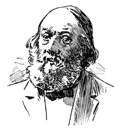 Edward Everett Hale 1822 to 1909 he was an American author historian and Unitarian minister vintage line drawing or engraving illustration