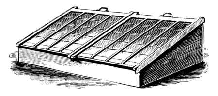 This illustration represents Two Light Frame which is used for large quantities of different subjects that have to be prepared for transplanting outside vintage line drawing or engraving illustration.