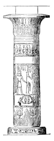 Column from Thebes ancient carving carvings column Egypt Egyptian Image vintage line drawing or engraving illustration.