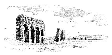Ruined aqueducts in the Campagna in order to bring water sources into cities and towns also provided water for mining operations vintage line drawing or engraving illustration. Illusztráció