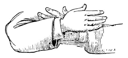 This picture represents the hands position in a resignation vintage line drawing or engraving illustration. Иллюстрация