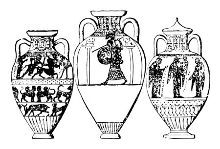 Amphora holds under a half to ton typically less than 50 kilograms The bodies of the two types have similar shapes vintage line drawing or engraving illustration.