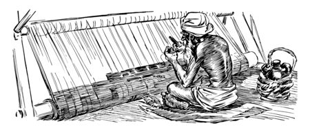 Persian Rug Weaver a carpet it is an important part of Persian art and culture vintage line drawing or engraving illustration.