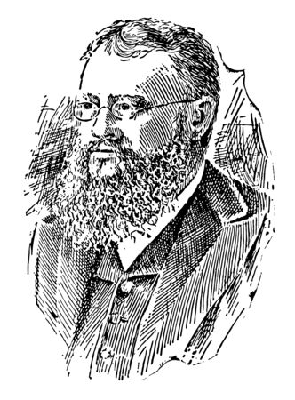 John Fiske 1842 to 1901 he was an American philosopher and historian who lectured across America lecturing on scientific philosophic historical thoughts such as evolution vintage line drawing or engraving illustration Vettoriali